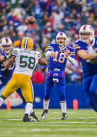 14 December 2014: Buffalo Bills quarterback Kyle Orton throws a forward pass in the third quarter against the Green Bay Packers at Ralph Wilson Stadium in Orchard Park, NY. The Bills defeated the Packers 21-13, snapping the Packers' 5-game winning streak and keeping the Bills' 2014 playoff hopes alive. Mandatory Credit: Ed Wolfstein Photo *** RAW (NEF) Image File Available ***