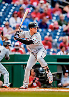 26 September 2018: Miami Marlins infielder Brian Anderson in action against the Washington Nationals at Nationals Park in Washington, DC. The Nationals defeated the visiting Marlins 9-3, closing out Washington's 2018 home season. Mandatory Credit: Ed Wolfstein Photo *** RAW (NEF) Image File Available ***