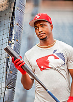21 September 2018: Washington Nationals outfielder Victor Robles takes batting practice prior to a game against the New York Mets at Nationals Park in Washington, DC. The Mets defeated the Nationals 4-2 in the second game of their 4-game series. Mandatory Credit: Ed Wolfstein Photo *** RAW (NEF) Image File Available ***