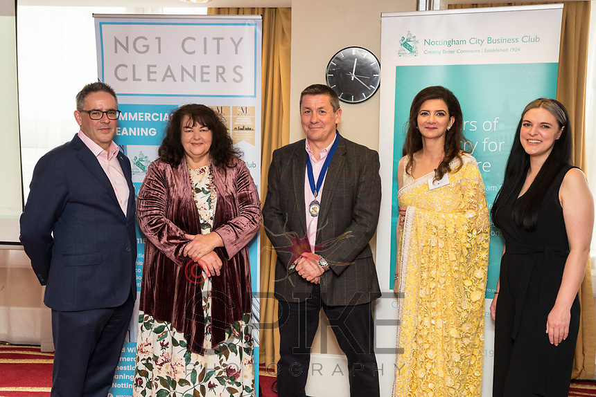 Panel speakers from left are Tom Waldron-Lynch, East Midlands Conference Centre & Orchard Hotel, Penney Poyzer, Nottingham Good Food Partnership, Nigel Rowlson President of Nottingham City Business Club, Amita Sawhney, MemSaab Restaurant and Lucy Stanford, Nottingham BID