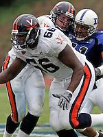 D'Brickashaw Ferguson-linebacker for UVa football. Photo/Andrew Shurtleff