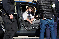Actor Tom Cruise and actress Hayley Atwell in a car during on the set of the film Mission Impossible 7 at Imperial Fora in Rome. <br /> Rome (Italy), November 21st 2020<br /> Photo Samantha Zucchi Insidefoto