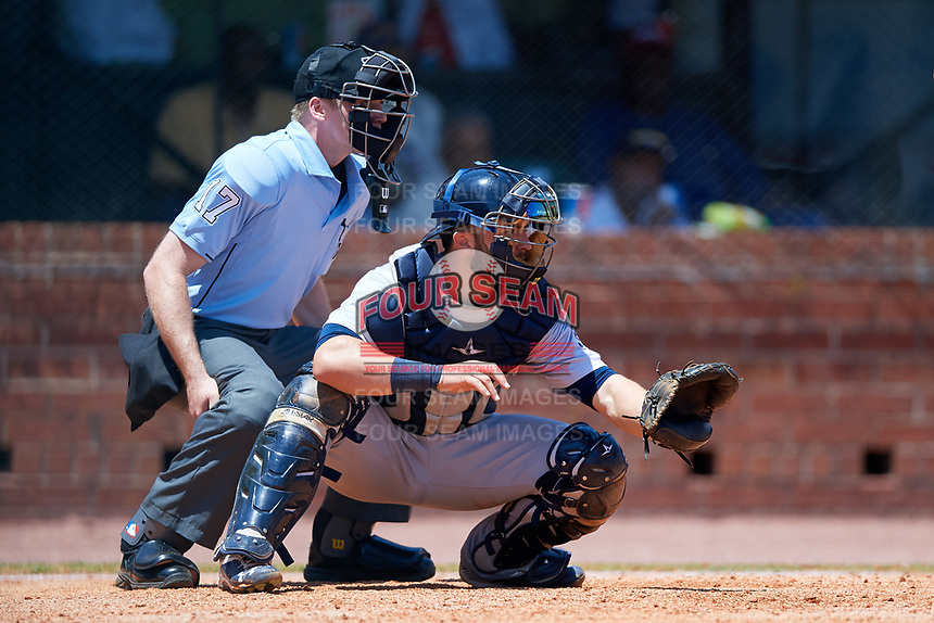 Pensacola Blue Wahoos catcher Joe Hudson (8) and home plate umpire Matt Winter during a game against the Mobile BayBears on April 26, 2017 at Hank Aaron Stadium in Mobile, Alabama.  Pensacola defeated Mobile 5-3.  (Mike Janes/Four Seam Images)