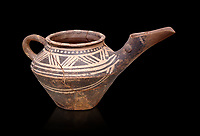"Early Minoan clay decorated ""teapot"" with elongated spout,  Michlos Cemetery 2600-1900 BC BC, Heraklion Archaeological  Museum, black background."