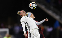 Columbus, Ohio - Thursday March 01, 2018: Alexandra Popp, Julie Ertz during a 2018 SheBelieves Cup match between the women's national teams of the United States (USA) and Germany (GER) at MAPFRE Stadium.