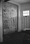 Makeshift bedroom wall inside Dischord House, Arlington VA, spring 1982.