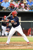 Memphis Redbirds catcher Audry Perez (40) at bat during a game against the Oklahoma City RedHawks on May 23, 2014 at AutoZone Park in Memphis, Tennessee.  Oklahoma City defeated Memphis 12-10.  (Mike Janes/Four Seam Images)
