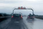 Germany, Baden-Wuerttemberg, highway Autobahn A5, rain, poor visibility, speed limit
