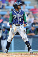 Lexington Legends second baseman Delino DeShields Jr. #4 reacts to a called third strike during a game against the Asheville Tourists at McCormick Field on May 7, 2012 in Asheville, North Carolina . The Tourists defeated the Legends 4-3. (Tony Farlow/Four Seam Images).