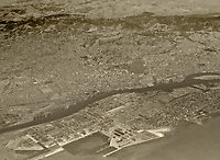 historical aerial photograph of Alameda and Oakland, California,