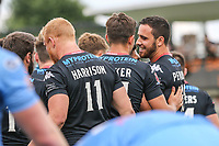 Api Pewhairangi of London Broncos (right) celebrates after he scores his 2nd try of the game and make the score 40-16 during the Kingstone Press Championship match between London Broncos and Sheffield Eagles at Castle Bar , West Ealing , England  on 9 July 2017. Photo by David Horn.