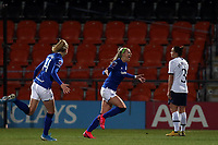 Chloe Kelly of Everton women  celebrates scoring the first goal during Tottenham Hotspur Women vs Everton Women, Barclays FA Women's Super League Football at the Hive Stadium on 12th February 2020