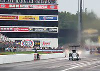 Aug 31, 2019; Clermont, IN, USA; NHRA top fuel driver Mike Salinas during qualifying for the US Nationals at Lucas Oil Raceway. Mandatory Credit: Mark J. Rebilas-USA TODAY Sports
