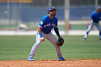 Toronto Blue Jays Devon Travis (29) during a minor league Spring Training game against the New York Yankees on March 30, 2017 at the Englebert Complex in Dunedin, Florida.  (Mike Janes/Four Seam Images)