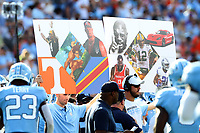 CHAPEL HILL, NC - SEPTEMBER 28: University of North Carolina play calling cards on the sideline during a game between Clemson University and University of North Carolina at Kenan Memorial Stadium on September 28, 2019 in Chapel Hill, North Carolina.
