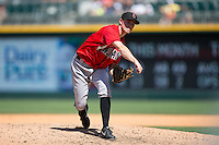 Indianapolis Indians infielder Kelson Brown (6) delivers a pitch to the plate during the eighth inning of the International League game against the Charlotte Knights at BB&T BallPark on June 21, 2015 in Charlotte, North Carolina.  The Knights defeated the Indians 13-1.  (Brian Westerholt/Four Seam Images)