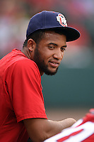 Oklahoma City RedHawks designated hitter Domingo Santana (15) in the dugout during a game against the Memphis Redbirds on May 23, 2014 at AutoZone Park in Memphis, Tennessee.  Oklahoma City defeated Memphis 12-10.  (Mike Janes/Four Seam Images)