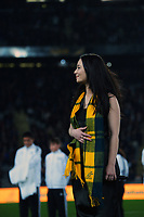 Australia national anthem before the Bledisloe Cup rugby match between the New Zealand All Blacks and Australia Wallabies at Eden Park in Auckland, New Zealand on Saturday, 7 August 2021. Photo: Dave Lintott / lintottphoto.co.nz