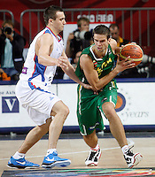 Mantas KALNIETIS (Lithuania)  passes Ivan PAUNIC (Serbia) during the 3rd Place World championship basketball match against Serbia in Istanbul, Serbia-Lithuania, Turkey on Sunday, Sep. 12, 2010. (Novak Djurovic/Starsportphoto.com) .