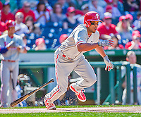 23 May 2015: Philadelphia Phillies outfielder Ben Revere in action against the Washington Nationals at Nationals Park in Washington, DC. The Phillies defeated the Nationals 8-1 in the second game of their 3-game weekend series. Mandatory Credit: Ed Wolfstein Photo *** RAW (NEF) Image File Available ***