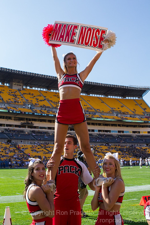 North Carolina State Wolfpack cheerleaders. The North Carolina Wolfpack defeated the Pitt Panthers 35-17 at Heinz Field, Pittsburgh, PA on October 14, 2017.