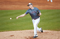 Concord Mountain Lions relief pitcher Tucker Perry (51) delivers a pitch to the plate against the Wingate Bulldogs at Ron Christopher Stadium on February 1, 2020 in Wingate, North Carolina. The Bulldogs defeated the Mountain Lions 8-0 in game one of a doubleheader. (Brian Westerholt/Four Seam Images)