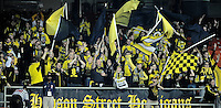 Washington D.C. - March 8, 2014: Columbus Crew fans.   The Columbus Crew defeated D.C. United 3-0 during the opening game of the 2014 season at RFK Stadium.