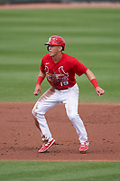 St. Louis Cardinals Tommy Edman (19) leads off during a Major League Spring Training game against the Houston Astros on March 20, 2021 at Roger Dean Stadium in Jupiter, Florida.  (Mike Janes/Four Seam Images)