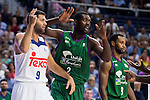 Real Madrid's player Felipe Reyes and Unicaja Malaga's player Viny Okouo and Kyle Fogg during match of Liga Endesa at Barclaycard Center in Madrid. September 30, Spain. 2016. (ALTERPHOTOS/BorjaB.Hojas)