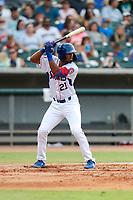 Tennessee Smokies left fielder Brennen Davis (21) at bat against the Mississippi Braves at Smokies Stadium on July 16, 2021, in Kodak, Tennessee. (Danny Parker/Four Seam Images)