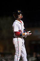 Salt River Rafters second baseman Carter Kieboom (24), of the Washington Nationals organization, stands on third base during an Arizona Fall League game against the Scottsdale Scorpions at Salt River Fields at Talking Stick on October 11, 2018 in Scottsdale, Arizona. Salt River defeated Scottsdale 7-6. (Zachary Lucy/Four Seam Images)