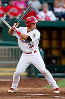 Travis Tartamella (36) of the Springfield Cardinals at bat during a game against the Arkansas Travelers at Hammons Field on June 12, 2012 in Springfield, Missouri. (David Welker/Four Seam Images)