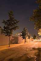 AVAILABLE FROM JEFF AS A FINE ART PRINT.<br /> <br /> AVAILABLE FROM PLAINPICTURE.COM FOR COMMERCIAL AND EDITORIAL LICENSING.  Please go to www.plainpicture.com and search for image # p5690149.<br /> <br /> Mysterious Street Scene at Night with Trees and Metal Fence in the Vinegar Hill Neighborhood of Brooklyn, New York City, New York State, USA