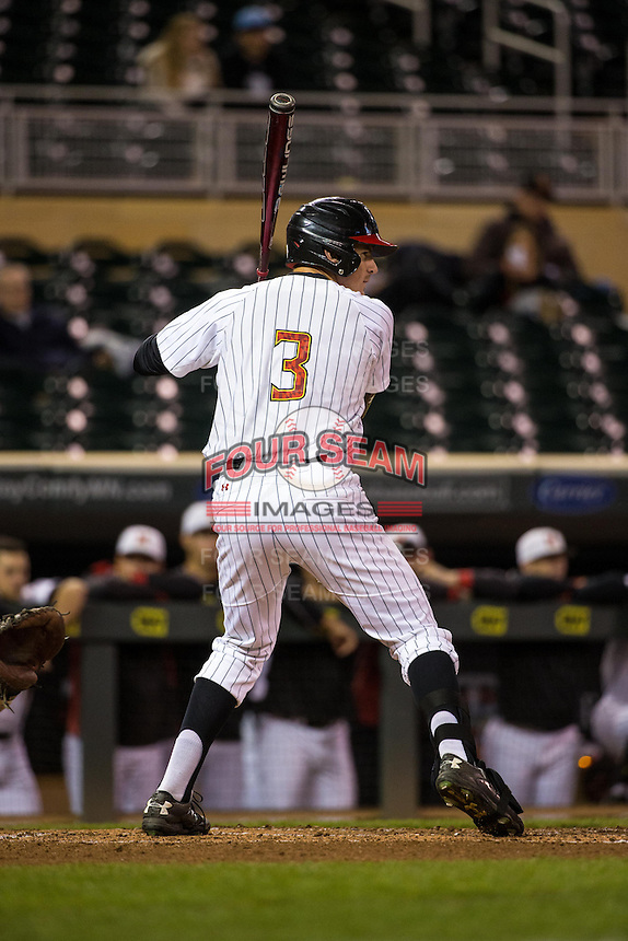 Anthony Papio (3) of the Maryland Terrapins bats during a 2015 Big Ten Conference Tournament game between the Maryland Terrapins and Michigan State Spartans at Target Field on May 20, 2015 in Minneapolis, Minnesota. (Brace Hemmelgarn/Four Seam Images)