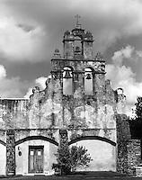 Mission San Juan belltower, San Antonio, Texas.<br /> <br /> Mamiya RB67 Pro SD, 180mm lens, Kodak TMAX 100 film, red filter
