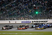 NASCAR Camping World Truck Series<br /> Toyota Tundra 250<br /> Kansas Speedway, Kansas City, KS USA<br /> Friday 12 May 2017<br /> Kyle Busch, Cessna Toyota Tundra, Ben Rhodes, Safelite Auto Glass Toyota Tundra and Chase Briscoe, Cooper Standard Ford F-150<br /> World Copyright: Nigel Kinrade<br /> LAT Images<br /> ref: Digital Image 17KAN1nk07253