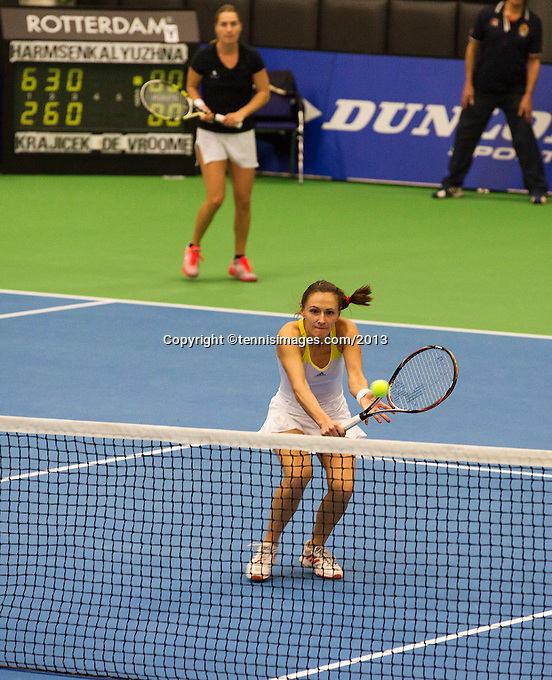 21-12-13,Netherlands, Rotterdam,  Topsportcentrum, Tennis Masters, Lady's double final Danielle Harmsen and Olga Kalyuzhnaya(R)(NED)<br /> Photo: Henk Koster