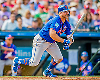 28 February 2019: New York Mets  top prospect infielder Pete Alonso at bat during a Spring Training game against the St. Louis Cardinals at Roger Dean Stadium in Jupiter, Florida. The Mets defeated the Cardinals 3-2 in Grapefruit League play. Mandatory Credit: Ed Wolfstein Photo *** RAW (NEF) Image File Available ***