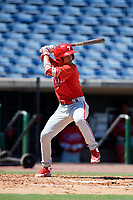 Philadelphia Phillies second baseman Luis Rojas (9) at bat during a Florida Instructional League game against the Toronto Blue Jays on September 24, 2018 at Spectrum Field in Clearwater, Florida.  (Mike Janes/Four Seam Images)