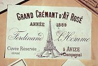 Europe/France/Champagne-Ardenne/51/Marne/Epernay: Musée Municipal détail ancienne étiquette de Champagne d'Ay Rosé