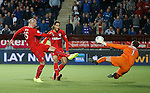 Kris Boyd scores but his goal is ruled out by the linesman