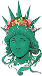 Illustrative image of Statue of Liberty with flowers against white background representing freedom