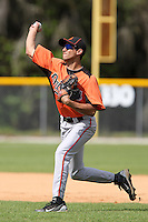 Baltimore Orioles Vincent Zazueta #73 during practice before a spring training game against the Tampa Bay Rays at the Buck O'Neil Complex on March 21, 2012 in Sarasota, Florida.  (Mike Janes/Four Seam Images)