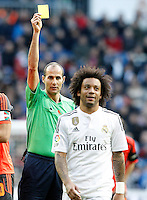 Spanish referee Alfonso Alvarez Izquierdo show yellow card to Real Madrid's Marcelo Vieira during La Liga match.January 31,2015. (ALTERPHOTOS/Acero) /NortePhoto<br /> /NortePhoto.com