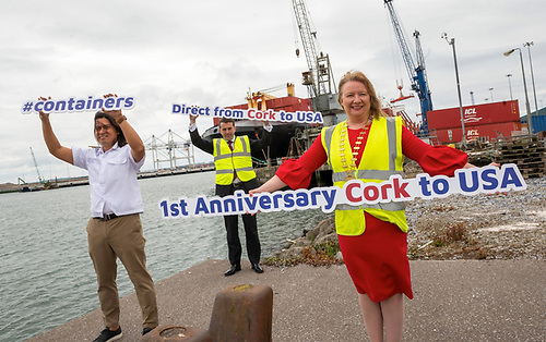 Celebrating one year of direct container service from Cork to the USA are Conor Mowlds, Port of Cork's Chief Commercial Officer; Paula Cogan, President of Cork Chamber and Captain Carlo Murakami of the container ship Independent Quest.'