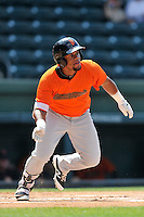 Third baseman Miguel Gomez (9) of the Augusta GreenJackets bats in a game against the Greenville Drive on Sunday, June 12, 2016, at Fluor Field at the West End in Greenville, South Carolina. Greenville won, 11-8. (Tom Priddy/Four Seam Images)