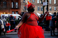 "NEW YORK, NEW YORK - MARCH 11: A member of the LGBTQ community dance during ""The Sex Worker March"" in Stonewall on March 11, 2021 in New York. Members of the LGBTQ community protest in support black transgender and queer people. (Photo by John Smith/VIEWpress)"