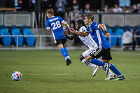 SAN JOSE, CA - MAY 15: Luciano Abecasis #2 of the San Jose Earthquakes chases Yimmi Chara #23 of the Portland Timbers during a game between San Jose Earthquakes and Portland Timbers at PayPal Park on May 15, 2021 in San Jose, California.