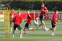 Pictured: Daniel James (4th L) in action. Monday 31 August 2020<br /> Re: Wales football training ahead of their game against Finland, at the Vale Resort in Hensol, Wales, UK.