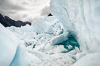 Ice formations on Franz Josef Glacier, Westland Tai Poutini National Park, UNESCO World Heritage Area, South Westland, New Zealand, NZ